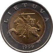 Lithuania 5 Litai 1999 KM# 113 Reform Coinage LIETUVA 1998 coin obverse