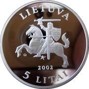 Lithuania 5 Litai Barn Owl 2002 Proof KM# 132 LIETUVA LMK 2002 5 LITAI coin obverse