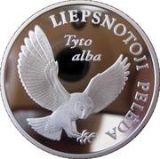 Lithuania 5 Litai Barn Owl 2002 Proof KM# 132 LIEPSNOTOJI PELĖDA TYTO ALBA coin reverse