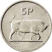 Ireland 5 Pence Large type 1980 KM# 22 5P coin reverse