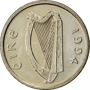 Ireland 5 Pence Small type 1994 KM# 28 ÉIRE 1998 coin obverse
