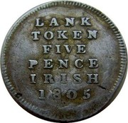 Ireland 5 Pence Token George III 1805 KM# Tn2 BANK TOKEN FIVE PENCE IRISH 1805 coin reverse