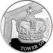 UK 5 Pounds Tower of London - Crown Jewels Piedfort 2019 Proof TOWER OF LONDON GD coin reverse