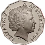 Australia 50 Cents Commonwealth Games Melbourne 2005 Proof KM# 769a ELIZABETH II AUSTRALIA 2005 IRB coin obverse