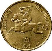 Lithuania 50 Centu 1925 KM# 75 Republic LIETUVAS RESPUBLIKA 1925 coin obverse