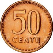 Lithuania 50 Centu 1991 KM# 90 Reform Coinage 50 CENTŲ coin reverse