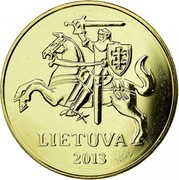 Lithuania 50 Centu 2013 In sets only KM# 108 Reform Coinage LIETUVA 1997 coin obverse