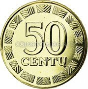 Lithuania 50 Centu 2013 In sets only KM# 108 Reform Coinage 50 CENTŲ coin reverse
