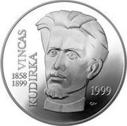 Lithuania 50 Litu 100th anniversary Death of Vincas Kudirka 1999 Proof KM# 119 VINCAS KUDIRKA 1858-1899 1999 GK coin reverse