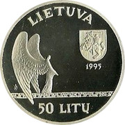 Lithuania 50 Litu 120th birth anniversary of Mikalojus Konstantinas Ciurlionis 1995 LMK Proof KM# 99 1875 - 1911 M.K. ČIURLIONIS ŽA coin reverse