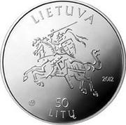 Lithuania 50 Litu 150th birth anniversary of the poet Maironis 2012 Proof KM# 192 LIETUVA 2012 LMK 50 LITŲ coin obverse