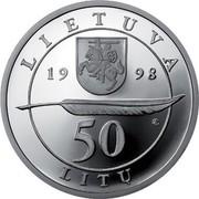 Lithuania 50 Litu 200th birth Anniversary of Adam Mickiewicz 1998 Proof KM# 114 LIETUVA 19 98 LMK 50 LITU coin obverse