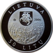Lithuania 50 Litu 200th birth anniversary of Emilija Pliateryte 2006 Proof KM# 151 LIETUVA LMK 2006 50 LITŲ coin obverse