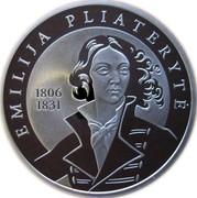 Lithuania 50 Litu 200th birth anniversary of Emilija Pliateryte 2006 Proof KM# 151 EMILIJA PLIATERYTĖ 1806 1831 coin reverse