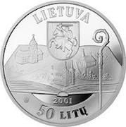 Lithuania 50 Litu 200th birth anniversary of Motiejus Valancius 2001 Proof KM# 129 LIETUVA 2001 LMK 50 LITŲ coin obverse