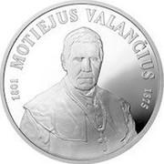 Lithuania 50 Litu 200th birth anniversary of Motiejus Valancius 2001 Proof KM# 129 1801 MOTIEJUS VALANČIUS 1875 coin reverse