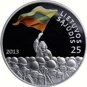 Lithuania 50 Litu 25th anniversary of the establishment of the Lithuanian Sajudis 2013 Proof KM# 195 LIETUVOS SĄJŪDIS 25 2013 coin reverse