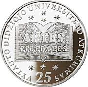 Lithuania 50 Litu 25th Anniversary Vytautas Magnus University 2014 Proof KM# 202 ARTES LIBERALES VYTAUTO DIDŽIOJO UNIVERSITETO ATKŪRIMAS 25 coin reverse