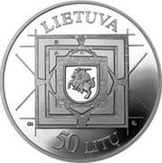 Lithuania 50 Litu 350th Anniversary of the publication The Great Art of Artillery by Kazimieras Semenavicius 2000 Proof KM# 121 LIETUVA GK LMK 50 LITŲ coin obverse
