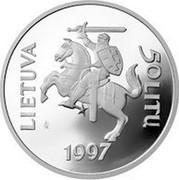 Lithuania 50 Litu 450th Anniversary of the first Lithuanian book 1997 Proof KM# 104 LIETUVA 50 LITŲ LMK 1997 coin obverse