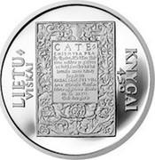 Lithuania 50 Litu 450th Anniversary of the first Lithuanian book 1997 Proof KM# 104 LIETU VIŠKAI CATE KNYGAI 450 coin reverse