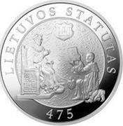 Lithuania 50 Litu 475th Anniversary of the First Statute of Lithuania 2004 Proof KM# 140 LIETUVOS STATUTUI 475 coin reverse