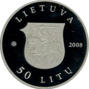 Lithuania 50 Litu 550th Birth Anniversary of St Casimir 2008 Proof KM# 154 LIETUVA LMK 2008 50 LITŲ coin obverse