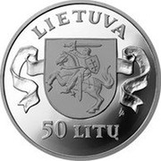 Lithuania 50 Litu 5th anniversary Assault of 13 January 1991 1996 Proof KM# 100 LIETUVA LMK 50 LITŲ coin obverse