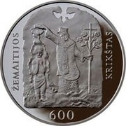 Lithuania 50 Litu 600th Anniversary of Christening of Samogitia 2013 Proof KM# 194 ŽEMAITIJOS KRIKŠTAS 600 coin reverse