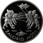 Lithuania 50 Litu 600th anniversary of the Battle of Grunwald 2010 Proof KM# 181 1410 2010 ŽALGIRIO MŪŠIS coin reverse