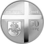 Lithuania 50 Litu Cardinal Vincentas Sladkevicius 2005 Proof KM# 145 LIETUVA 2005 50 LITŲ LMK coin obverse