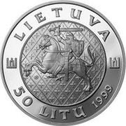 Lithuania 50 Litu Grand Duke Kestutis 1999 Proof KM# 118 LIETUVA LMK 50 LITŲ 1999 coin obverse
