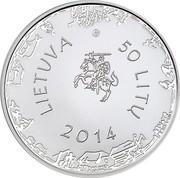 Lithuania 50 Litu Kristijonas Donelaitis 2014 Proof KM# 204 LIETUVA 50 LITU 2014 coin obverse