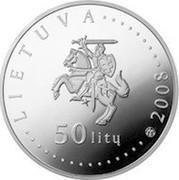 Lithuania 50 Litu Lithuania nature - Bumblebee 2008 Proof KM# 159 LIETUVA 50 LITŲ LMK 2008 coin obverse