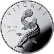 Lithuania 50 Litu Lithuanian nature - European weatherfish 2010 Proof KM# 171 VIJŪNAS MISGURNUS FOSSILIS coin reverse