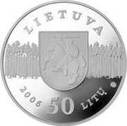 Lithuania 50 Litu Lithuanian nature - Lynx 2006 Proof KM# 148 LIETUVA 2006 50 LITŲ LMK coin obverse