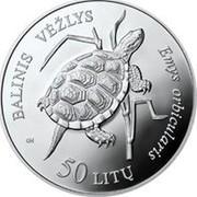 Lithuania 50 Litu Lithuanian nature - Pond Turtle 2012 Proof KM# 178 BALINIS VĖŽLYS EMYS ORBICULARIS GK 50 LITŲ coin reverse