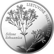 Lithuania 50 Litu Lithuanian nature - Silene lithuanica 2009 LMK Proof KM# 165 LIETUVINĖ NAKTIŽIEDĖ SILENE LITHUANICA coin reverse