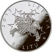 Lithuania 50 Litu Lithuania's Presidency of the Council of the European Union 2013 Proof KM# 196 2013 LIETUVA LMK 50 LITŲ coin obverse