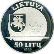Lithuania 50 Litu Mindaugas - the King of Lithuania 1996 LMK Proof KM# 102 LIETUVA LMK 50 LITŲ 1996 coin obverse