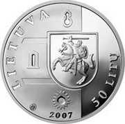 Lithuania 50 Litu Panemune Castle 2007 LMK Proof KM# 161 LIETUVA LMK 2007 50 LITŲ coin obverse