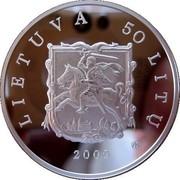 Lithuania 50 Litu Tytuvenai architectural ensemble 2009 Proof KM# 164 LIETUVA 50 LITŲ LMK 2009 coin obverse