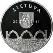 Lithuania 50 Litu Vilnius Upper Castle 2011 Proof KM# 219 LIETUVA 2011 LMK 50 LITŲ coin obverse