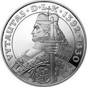 Lithuania 50 Litu Vytautas - Grand Duke of Lithuania 2000 Proof KM# 125 VYTAUTAS • D • L K • 1392 • 1430 V. KAŠUBA coin reverse