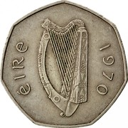 Ireland 50 Pence 1970 KM# 24 Decimal Coinage ÉIRE 1977 coin obverse