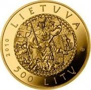 Lithuania 500 Litu 600th anniversary of the Battle of Grunwald 2010 Proof KM# 173 LIETUVA 2010 LMK 500 LITŲ coin obverse