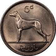 Ireland 6 Pence 1935 KM# 5 Sterling Coinage 6D REUL coin reverse