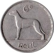 Ireland 6 Pence 1940 KM# 13 Republic 6D REUL coin reverse