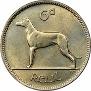 Ireland 6 Pence 1947 KM# 13a Republic 6D REUL PM coin reverse
