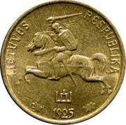 Lithuania Centas 1925 KM# 71 Republic LIETUVOS RESPUBLIKA 1925 coin obverse